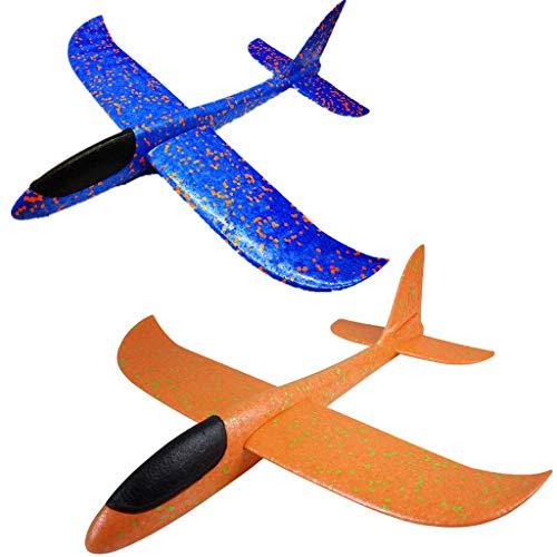 2 Stück Styroporflieger Flugzeug,Fliegende Gleiter Handbuch Gleitflugzeuge Kinder Flugzeug Spielzeug Outdoor Wurf Segelflugzeug Werfen Fliegen für Kinder Plastikflugzeug Kindergeburtstag ca.36cm blau -