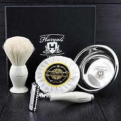 DE Set de Afeitadora con brocha de afeitar de pelo blanco de tejon - Coleccion Sophist elegante diseñada por Haryali London hecho a mano (Incluye jabon de afeitar y bowl de afeitar de acero inoxidable aleman)