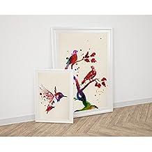 PACK de láminas para enmarcar PAJAROS. Posters estilo acuarela con imágenes de animales. Decoración de hogar. Láminas para enmarcar. Papel 250 gramos alta calidad