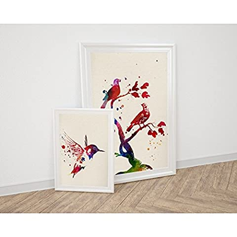 Pack of Sheet for framing Pajaros. Posters Style Watercolor Painting with Images of Animals. Decoration of Home. Sheets for framing Paper 250Grams High