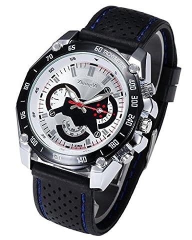 JSDDE montre quartz blanc fond l'argent de boîtiers de montres