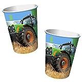 8 Becher * TRAKTOR * für Kindergeburtstag oder Mottoparty // Cups Partybecher Pappbecher Bauernhof Trekker Bauern Felder