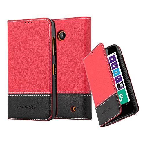 Cadorabo Coque pour Nokia Lumia 630 en Rouge Noir – Housse Protection avec Fermoire Magnétique, Stand Horizontal et Fente Carte – Portefeuille Etui Poche Folio Case Cover