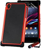 32nd Shock Pr32nd Shock Proof Defender Heavy Duty Tough Shell Case Cover for Sony Xperia Z - Red