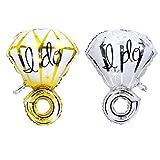 Globos de boda, ROSENICE Globos en forma de anillos Love you Azul Plata Dorado