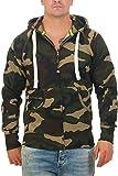 Herren Sweatjacke Zip Hoodie Kapuzenjacke Militär Tarnmuster Camouflage, Größe:M, Farbe:Grün