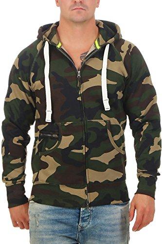 Herren Sweatjacke Zip Hoodie Kapuzenjacke Militär Tarnmuster Camouflage, Farbe:Grün, Größe:3XL Woodland Fleece-sweatshirt