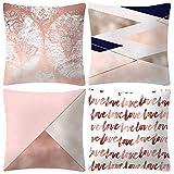Memefood 4 Piezas Fundas De Almohada Cuadrada Blanco Rosa Moderna Soild Decorativo Fundas De Cojines con Oculto Cremallera para Sofá Dormitorio Coche 18 * 18 Pulgada 45 * 45 cm(D)