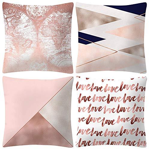 FeiliandaJJ 4PCS Kissenbezug Rose Gold Einfachheit, kissenhülle Kopfkissenbezug Pillowcase Drucken Super weich Sofakissen für Wohnzimmer Sofa Bed Home Dekoration,45x45cm (D)