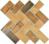 Mosaik Fliese Keramik braun Fischgrät Holzoptik dunkel für BODEN WAND BAD WC DUSCHE KÜCHE FLIESENSPIEGEL THEKENVERKLEIDUNG BADEWANNENVERKLEIDUNG Mosaikmatte Mosaikplatte