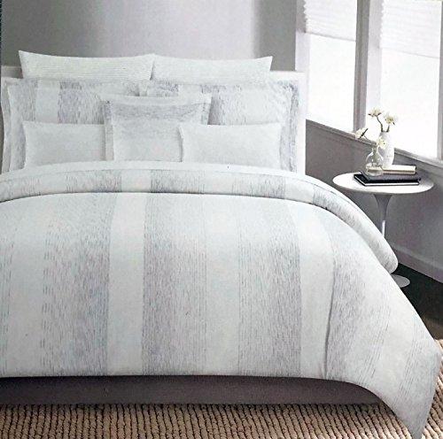 Metallic Stripe Bettwäsche (Tahari Betten Metallic Silber Streifen auf Creme Bettbezug Set Full/Queen 3Stück Modernes Muster Quilt Tröster Cover-Galaxy)
