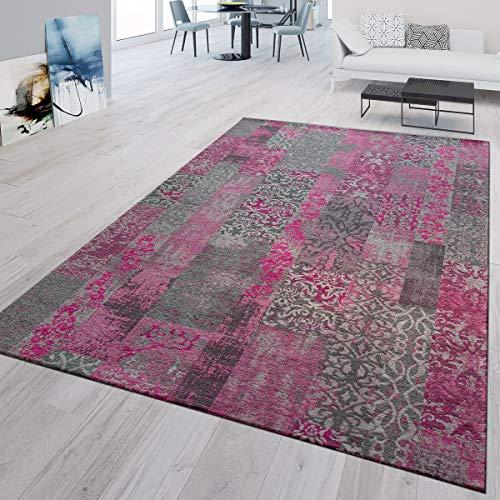 TT Home Alfombra de Pelo Corto, Moderna, para salón, Patchwork, clásica, Rosa, Gris, 80 x 150 cm