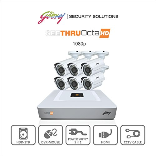 Godrej Octra Hd 1080p Sehcctv1500-6b 1.3mp 8-channel Dvr With 6 Bullet Cameras (white)