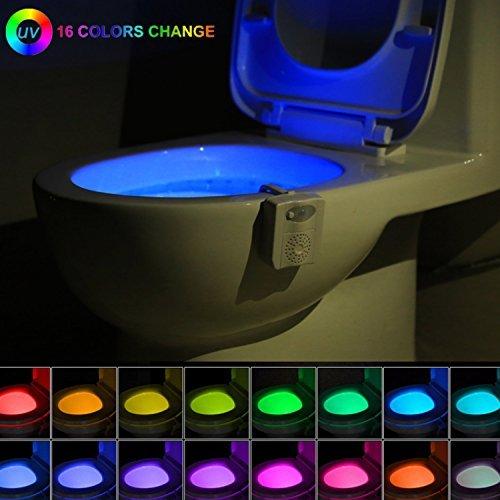 Gadget de luz nocturna para inodoro, con sensor de movimiento, 16 colores,...