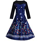 Xmiral Damen Kleid Vintage Langarm O-Ausschnitt A-Linie Rock Elegante Abend Druck Party Prom Swing Kleid (M,Dunkelblau)