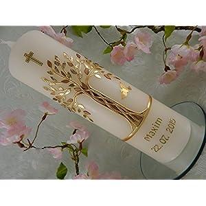 Taufkerze Baum des Lebens gold handmade Taufkerzen Junge Mädchen 250/70 mm mit Name und Datum