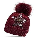 CASPAR MU161 Damen Strick Winter Mütze mit Pailletten Stern und großem Fellbommel, Farbe:rot;Größe:One Size