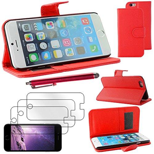 """ebestStar - pour Apple iPhone 6S 6 Plus écran 5,5"""" - Housse Coque Etui Portefeuille Support PU Cuir + Stylet tactile + 3 Films protection écran, Couleur Bleu [Dimensions PRECISES de votre appareil : 1 Rouge"""