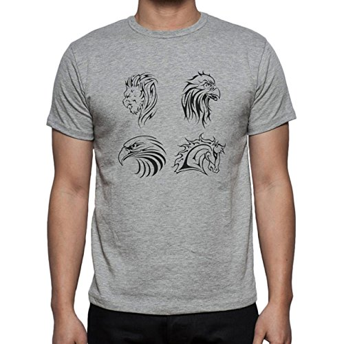 Horse Animal Pony Stud Heads Herren T-Shirt Grau