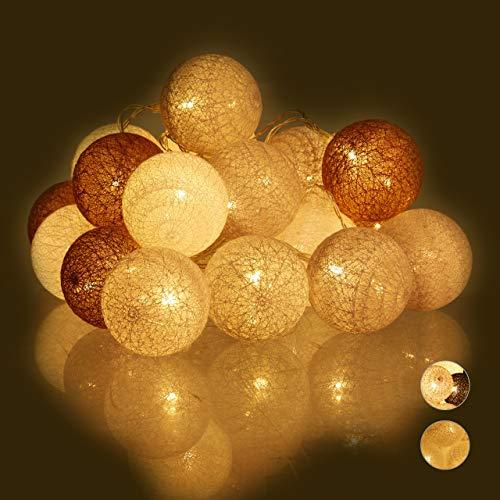 Relaxdays LED Lichterkette mit 20 Baumwollkugeln, batteriebetrieben, Stimmungslichter, Kugeln 6 cm Ø, weiß/grau/braun