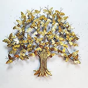 "Wembley Metal Wall Art 36""x 33"" Elegant Golden Butterflies Tree 3D Metallic Finish Décor Wall Art Moden Design Panel Home Decoration Wall Hanging & Sculpture for Living Room /Hotel/Restaurant/Bedroom/Drawing Room /Gifting Purpose"