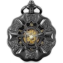 Carrie Hughes Steampunk Retro romano letras esqueleto mecánico reloj de bolsillo para los hombres mujeres