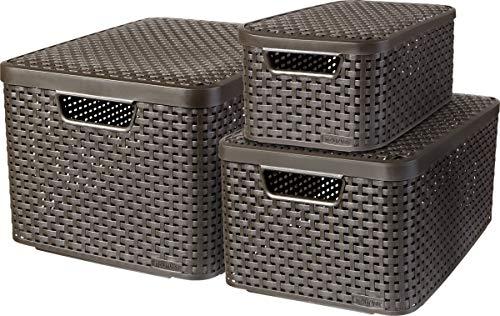 Curver 240653 - Set de 3 cestas Style con tapa