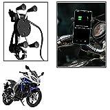Vheelocityin Spider Bike Mobile Holder with USB Charger Mototrcycle Mobile Holder BracketFor Yamaha Fazer-Fi