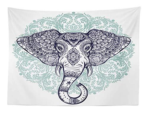 ABAKUHAUS Mandala Elefante Tapiz de Pared y Cubrecama Suave, Estampa Cachemira Floral Étnica Tribal Cabeza de Animal Sagrado Hippie, Decoración para el Cuarto, 150 x 110 cm, Púrpura