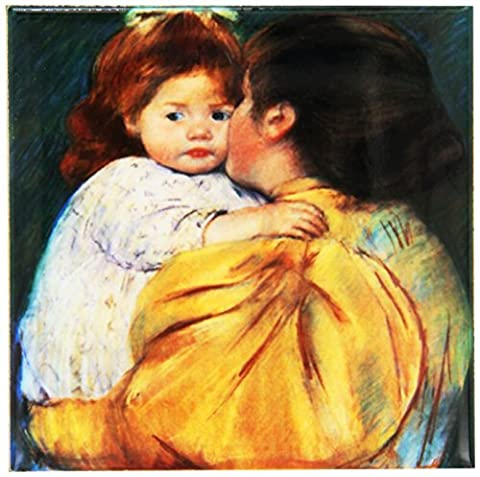 BLN Paintings of Children Fine Art Collection - Maternal Kiss, 1896 by Mary Cassatt - Coasters - set of 4 Ceramic Tile Coasters