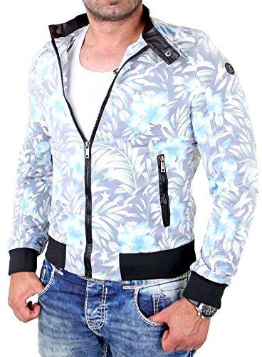Reslad Übergangsjacke Herren Freizeit- Jacke mit Blumenmuster RS-71 Schwarz Schwarz
