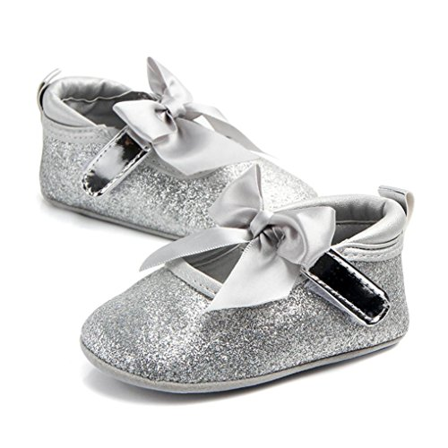 Bling Bowknot Único derrapante Igemy Par Sapatos Fashion Prata De Anti Macio Do Princesa 1 Baby Girl 0wHv8