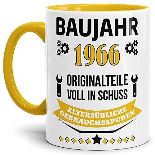 Geburtstags-Tasse 'Baujahr 1966' Innen & Henkel Gelb / Kaffee-Tasse / Mug / Cup / Becher / Lustig /...