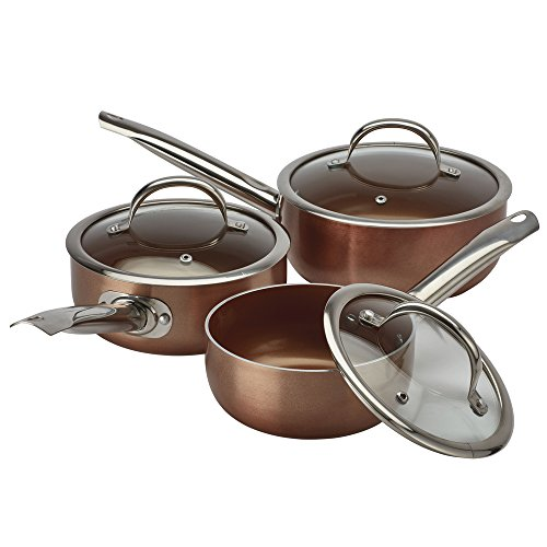 Cooks Professional Non Stick Ceramic Saucepan Set Copper Effect Light-Weight Double Layered Gas, Electric, Induction & Ceramic Hob Compatible (3 Piece Saucepan Set)