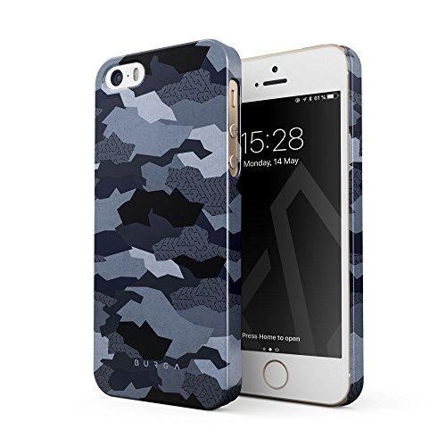BURGA Hülle Kompatibel mit iPhone 5 / 5s / SE Handy Huelle Navy Blau Camo Camouflage Tarnung Muster Dünn, Robuste Rückschale aus Kunststoff Handyhülle Schutz Case Cover -