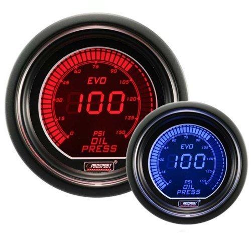 Prosport 52mm Black Digital Clock Gauge with BLUE time display