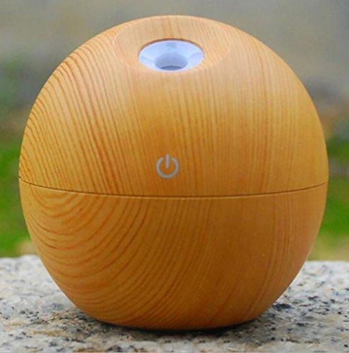 SCZLSYL Humidificador de madera redondo de escritorio compacto aromaterapia purificador de aire silencioso humidificación luces de noche de colores , light wood grain