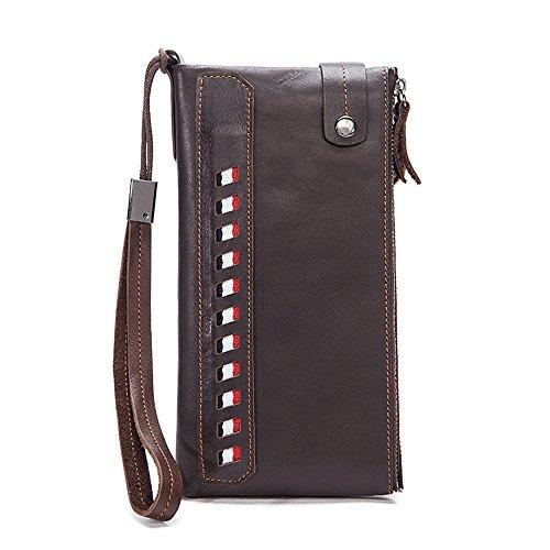 AUMING Geldbörse Herren Herren Echtes Leder Brieftasche Männer Lange Brieftasche Männer Multifunktionale Brieftasche Handgelenk Taschen Business Casual Clutch Bag (Color : Dark Coffee) - Tasche Brieftasche