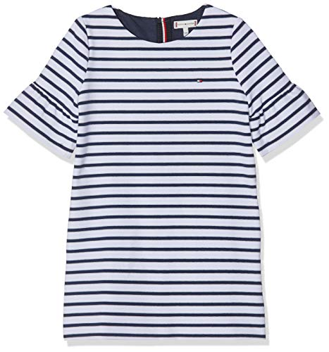 Tommy Hilfiger Mädchen Essential Stripe Shift Dress S/S Kleid, Blau (Black Iris/Bright White 002), 104 Stripe Shift