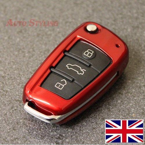 Coprichiave per Audi A1,A3,S3,RS3,A4,S4,RS4,A6,S6,RS6,Q2,Q3,Q5,Q7,TT, TTs, R8,rivestimento di protezione, telecomando a 3pulsanti Size (inch) 2.7 (L) x 1.5 (W) x 0.7 (D) Fire Red