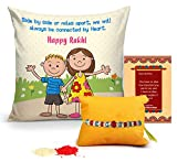 #7: Tied Ribbons Rakhi Gift for Brother Handmade Rakhi for Brother on Rakshabandhan Printed Cushion with Filler and Roli Chawal-Rakhi and Gift for Brother