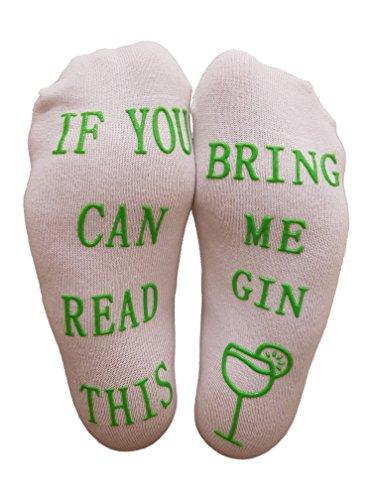 """Preisvergleich Produktbild Luxus-Gin-Socken mit""""If You Can Read This Bring Me Gin"""" von Miana's (Muttertag Geschenk, lustiges Wein-Zubehör für Frauen, tolles Geburtstags- & Gastgeschenk)"""