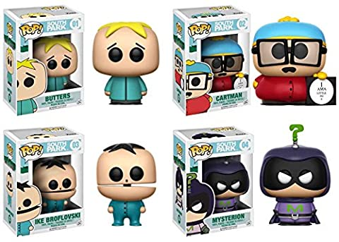 Funko POP! South Park: Butters + Cartman (Piggy) + Ike Broflovski + Mysterion - Vinyl Figure Set (South Park Butters)