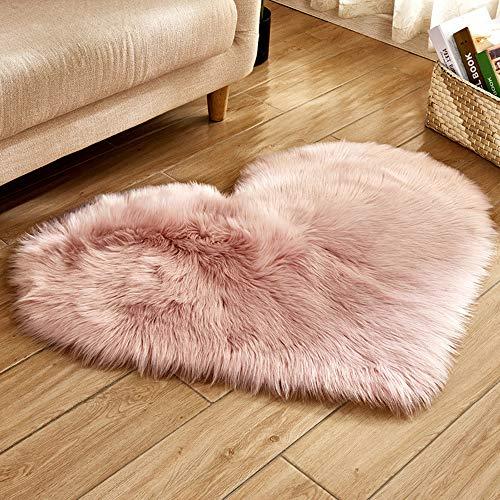 Alfombra lana artificial suave forma corazón, salón