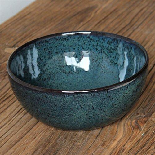 CJH Vaisselle en céramique sous glaçure Grès Continental Vert Grand Bol à soupe Saladier Bol à fruits