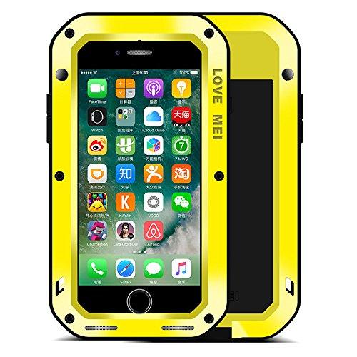 iphone 6s Hülle Case, Feitenn wasserdicht stoßfest Staub / Schmutz / Schnee Beweis Aluminiummetall Gorilla-Glas Military Schwer Metall Stoßstange Hülle Tasche cover für iphone 6(gelb) Gelb