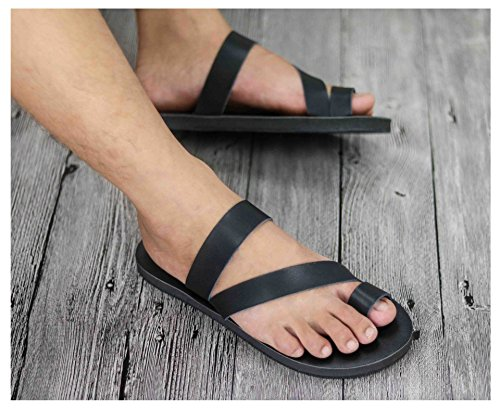 Sentao PU cuir Tongs Unisexe Casual Sandales Poids léger Sandales Noir