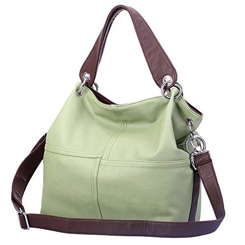 Tolooggo Damen Tasche PU-Leder Schultertasche Messenger Muße Umhängetaschen Clutch (Grün) (Tote Leder Hobo)