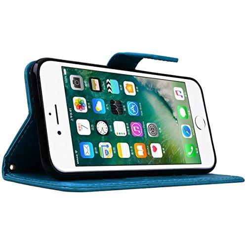 CE-Link Cover Apple iPhone 7, iPhone 7 Case Wallet Card Holder Protective Retro Funzione Stand Fiore e Farfalla, Porta Carte e Protettiva Flip Portafoglio Cover con Chiusa Magnetica per iPhone 7 - Gri Blu
