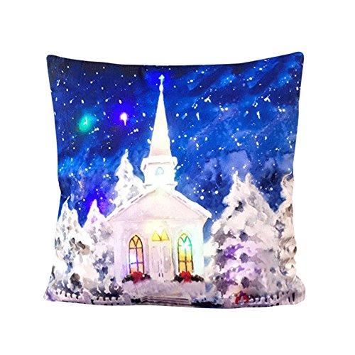Home Dekoration Loveso LED Zierkissen Kissenbezug Merry Christmas Schneemann Pinguin Elch Santa Schloss Muster Geschenk Sofa Deko Pillowcase (45 X 45 cm, D) -